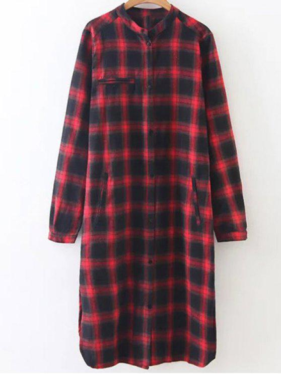 outfit Checked Long Sleeves Flannel Shirt Dress - MULTICOLOR M