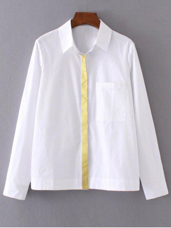Color bloque novio bolsillo de la camisa - Blanco S