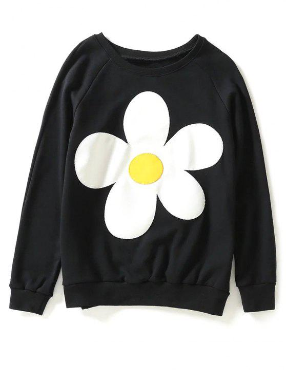 Sweat-shirt floral du col - Noir S