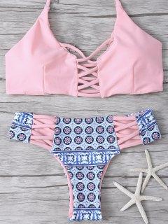 Criss-Cross Tribal Print Bikini - Pink L