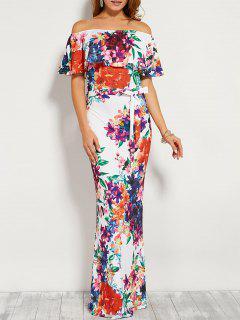 Robe à épaules Dénudés Et Volants à Imprimé Floral Avec Ceinture - Blanc L