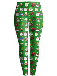 Christmas Gift Print Ankle Leggings - Green L