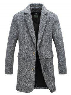 Flap Pocket Lapel Tweed Wool Mix Coat - Light Gray 5xl