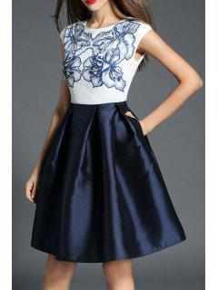 Floral Print Chiffon Insert Mini Dress - Purplish Blue S