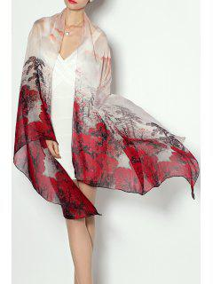Soft Chinese Painting Print Chiffon Pashmina - Wine Red