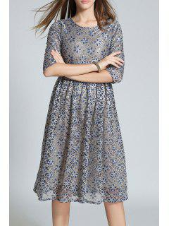 Half Sleeve Sequined Lace A Line Dress - Light Gray S