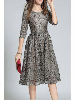 Half Sleeve Sequined Lace A Line Dress - Deep Gray 2xl