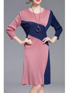 Jewel Neck Color Block Sheath Dress - Pink