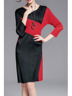Jewel Neck Color Block Robe - Rouge