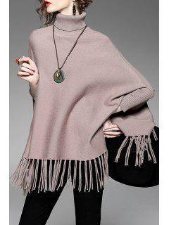 Turtleneck Fringe Poncho Sweater - Pale Rose Gris