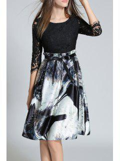 Lace Panel Dress With Chinese Painting - Black S