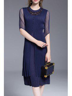 Lace Panel Mesh Midi Dress - Purplish Blue
