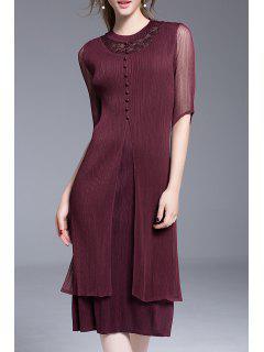 Lace Panel Mesh Midi Dress - Burgundy