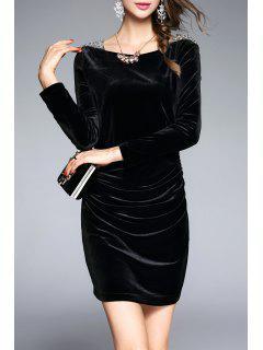 Long Sleeve Velvet Ruched Dress - Black S