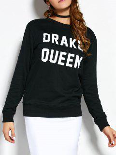 Crew Neck Sweatshirt With Text - Black S