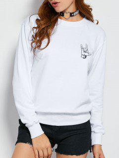 Gesture Graphic Pullover Sweatshirt - White M