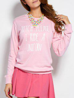 Text Printed Sweatshirt - Pink S