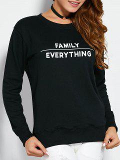 Sweatshirt With Text Print - Black Xl