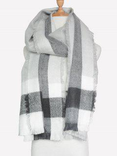 Check Pattern Fringed Scarf - Gray