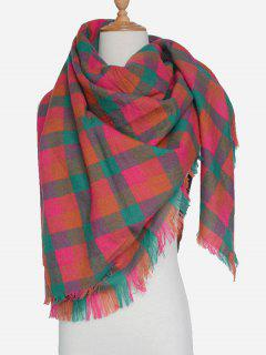 Plaid Pattern Fringed Scarf - Jacinth