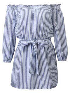 Striped Off Shoulder Belted Dress - Blue And White L