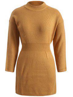 Plus Size Packet Buttock Sweater Dress - Dark Khaki Xl