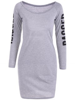 Back Cutout Graphic Bodycon Dress - Gray S