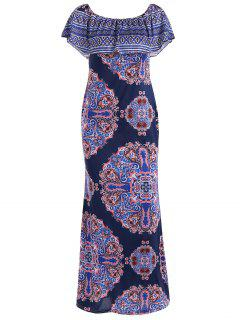 Printed Ruffles Bodycon Maxi Dress - Deep Purple S