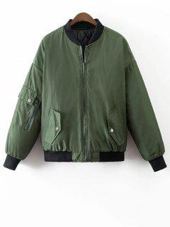 Crane Embroidered Zippered Souvenir Jacket - Green M