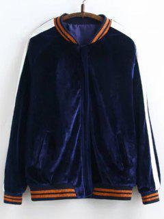 Velvet Floral Embroidered Jacket - Purplish Blue L