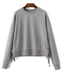 Ate Para Arriba La Camiseta De Cuello De La Joya - Gris