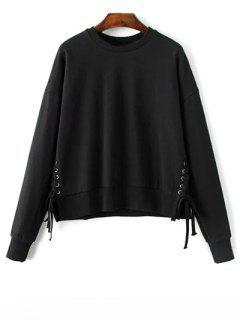 Lace Up Jewel Neck Sweatshirt - Black