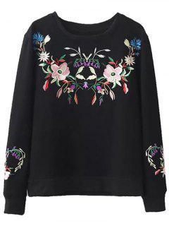 Fleeced Floral Embroidered Sweatshirt - Black S