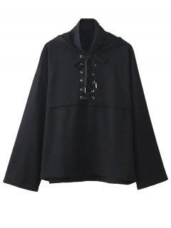 Lace Up High Neck Hoodie - Black M