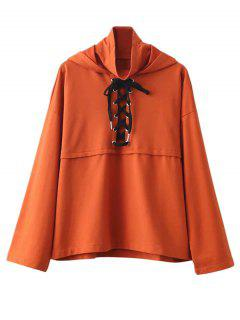 Lace Up High Neck Hoodie - Orange  M