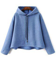 Loose Drawstring Trapeze Hoodie - Light Blue S