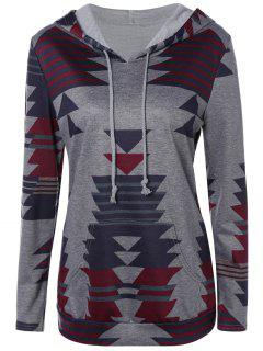 Plus Size Loose Geometric Hoodie - Gray Xl