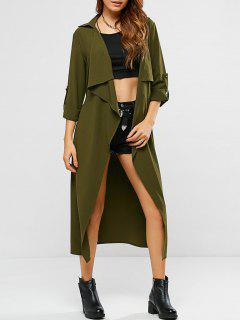 Tie Belt Adjustable Sleeve Wrap Trench Coat - Army Green Xl