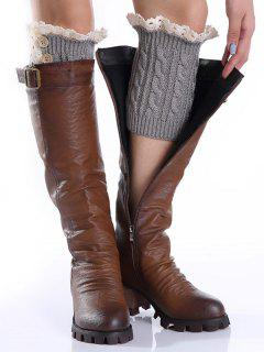Lace Button Cable Knitted Boot Cuffs - Light Gray