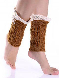 Lace Button Cable Knitted Boot Cuffs - Earthy