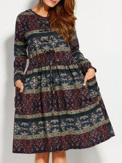 Retro Print V Neck Long Sleeve A Line Dress - 2xl