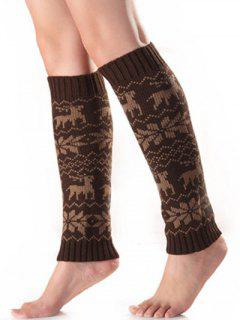 Christmas Fawn Snowflake Knitted Leg Warmers - Coffee