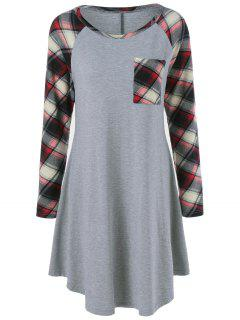 Single Pocket Checked Trim Tee Dress - Gray L