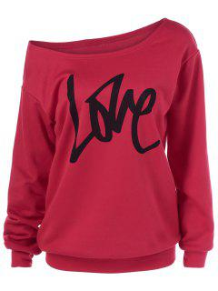 Skew Collar Love Pattern Sweatshirt - Red Xl