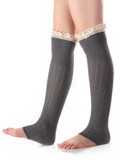 Lace Edge Knit Leg Warmers - Light Gray