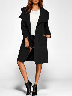 Shawl Lapel Belted Wrap Coat - Black 2xl