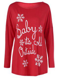 Snowflake Printed Funny Tee - Red Xl