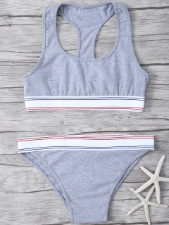 Banded Sports Bra And Panty - Gray Xs