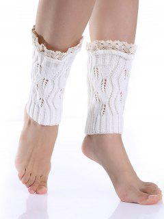 Lace Edge Knitted Boot Cuffs - White