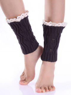 Lace Edge Knitted Boot Cuffs - Deep Gray